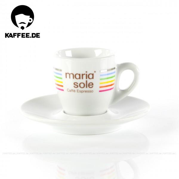Farbe weiß mit MariaSole- & MilleSoli-Logo inkl. Untertasse, 6 Tassen pro VPE, EAN-Code: 4260011865708