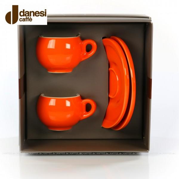 2 farbige (orange) DANESI Espressotassen mit Untertasse im Geschenkkarton, EAN-Code: 8000135010280