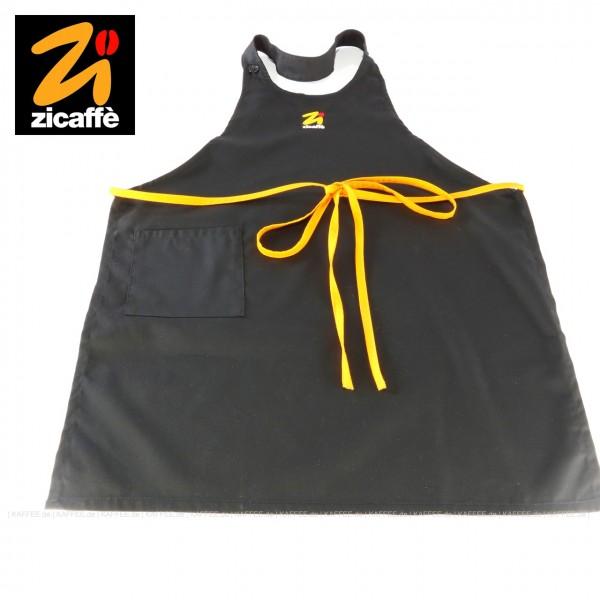 Latzschürze schwarz aus reiner Baumwolle mit gelbem Band und dem Zicaffè-Logo, EAN-Code: 0000000001534