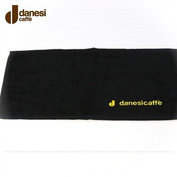 Handtücher Danesi (schwarz) mit Logo (gelb), je 10 Stück pro Beutel, 48x25 cm, EAN-Code: 0000000001032