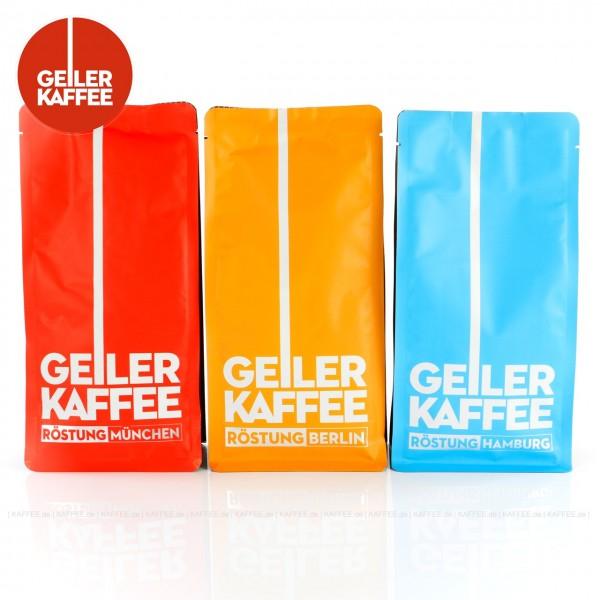 <p>3 Bags je 250 g pro VPE, Bohne, Gesamtinhalt 0,75 kg pro VPE Das Set beinhaltet je ein Bag folgende Produkte: GEILER KAFFEE Röstung MÜNCHEN (1920), GEILER KAFFEE Röstung BERLIN (1921), und GEILER KAFFEE Röstung HAMBURG (1922)., EAN-Code: 4260404690641<