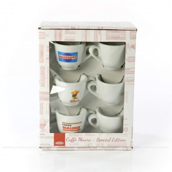 Tassenset mit drei unterschiedlichen CAFFÈ MAURO Motiven, 6 Tassen pro VPE, EAN-Code: 8002530940148