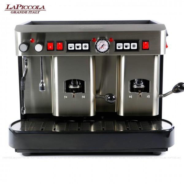 Espressomaschine für ESE-Pads (normal) mit zwei Brühgruppen (7g/7g), automatische Dosierung, Edelstahl mit schwarzen Seitenteilen, Milchaufschäumer und Wassertank Diese Maschine ist in weiteren Ausführungen erhältlich: zum Beispiel mit anderen Brühgrup