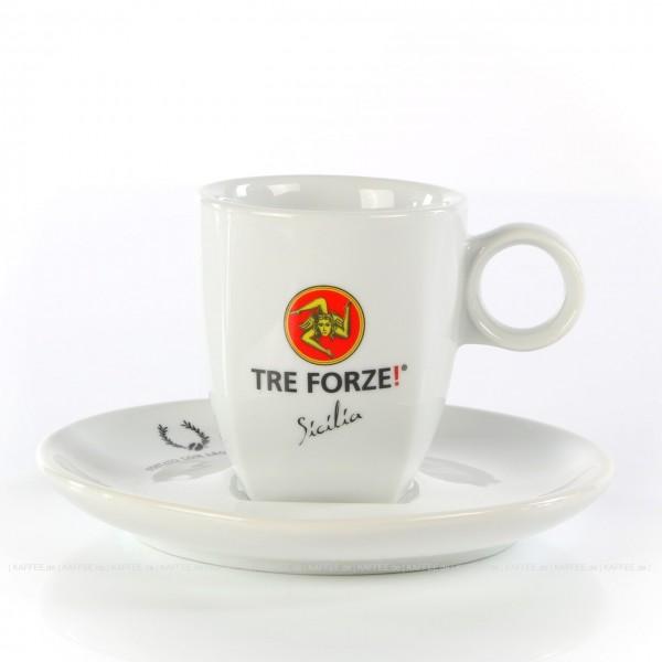Farbe weiß mit Tre Forze!-Logo und weißer Untertasse, 6 Tassen pro VPE, EAN-Code: 4260011860802