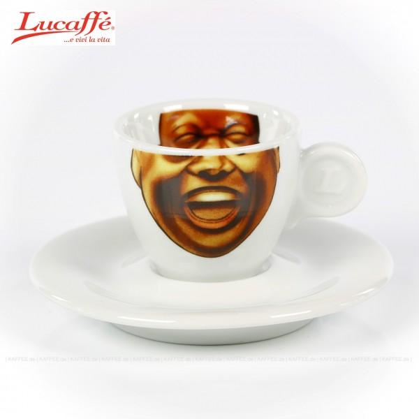 Espressotasse mit witzigem Motiv des Lucaffè Maskottchens in zwei Farben (rot und weiß) und Lucaffè-Logo (außen), 6 Tassen pro VPE, EAN-Code: 8021103700781