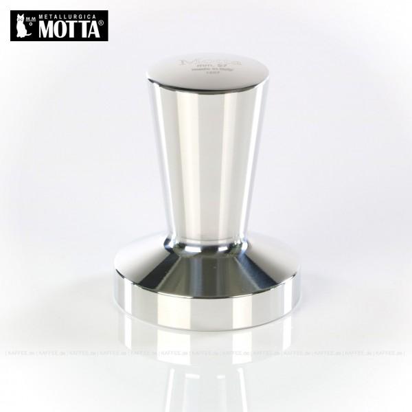 Tamper aus Metall (verchromt), Durchmesser 57 mm, Tamperunterseite flach, Griff oben flach, Gesamtinhalt 1 Stück pro VPE, EAN-Code: 8007986013651