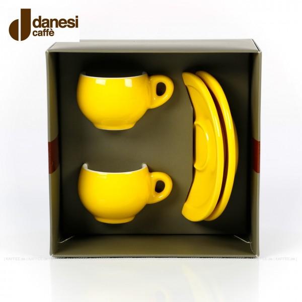 2 farbige (gelbe) DANESI Espressotassen mit Untertasse im Geschenkkarton, EAN-Code: 8000135010280