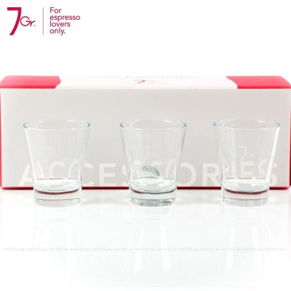 Espresso-Gläser 3er-Set bedruckt mit 7 Gr.-Logo, 6 Gläser pro VPE, EAN-Code: 8034013280151