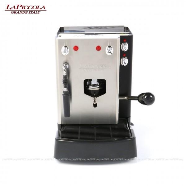 Espressomaschine für ESE-Pads (normal) mit Milchaufschäumer, Edelstahl mit schwarzen Seitenteilen, EAN-Code: 0000000001224
