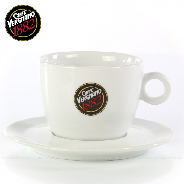 Farbe weiß mit Caffè Vergnano-Logo, mit Untertasse, 6 Tassen pro VPE, auch als Schokoladentasse sehr gut zu verwenden, EAN-Code: 0000000001617