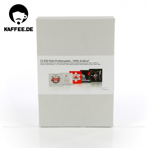 25 Pads je 6 bzw. 7 g pro VPE, gemahlen, ESE-Standard 44 mm, Gesamtinhalt 170 g pro VPE Das Set beinhaltet je fünf ESE-Pads folgender Produkte: DANESI Easy Espresso ORO (1015), Lucaffé Mr. Exklusive 100% Arabica (1041), 7 Gr. Time Coffee 100% Arabica (