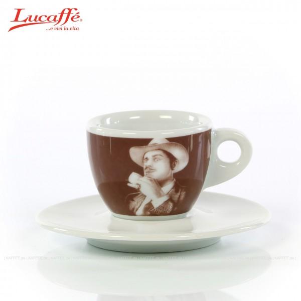 Tasse braun mit Lucaffé DER PATE Logo und weißer Untertasse, 6 Tassen pro VPE, EAN-Code: 0000000001416