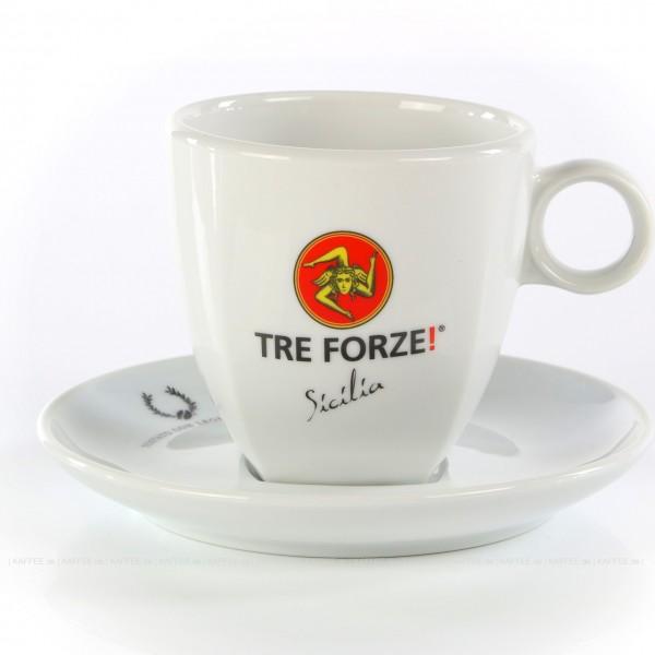 Farbe weiß mit Tre Forze!-Logo und weißer Untertasse, 6 Tassen pro VPE, EAN-Code: 4260011860901