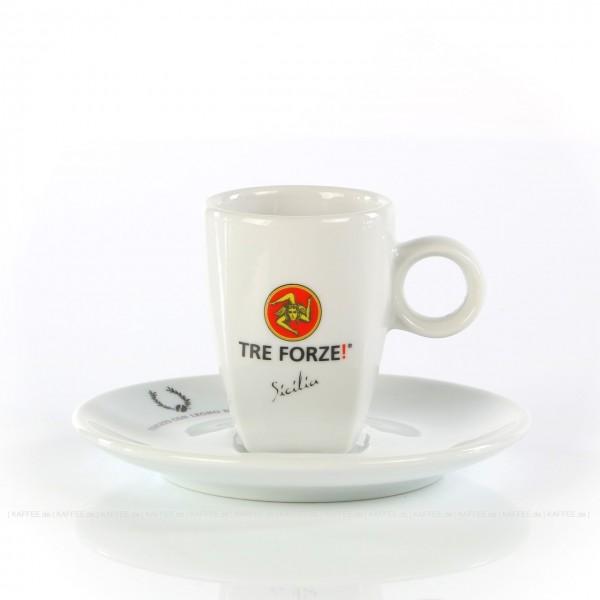 Farbe weiß mit Tre Forze!-Logo und weißer Untertasse, 6 Tassen pro VPE, EAN-Code: 4260011860703