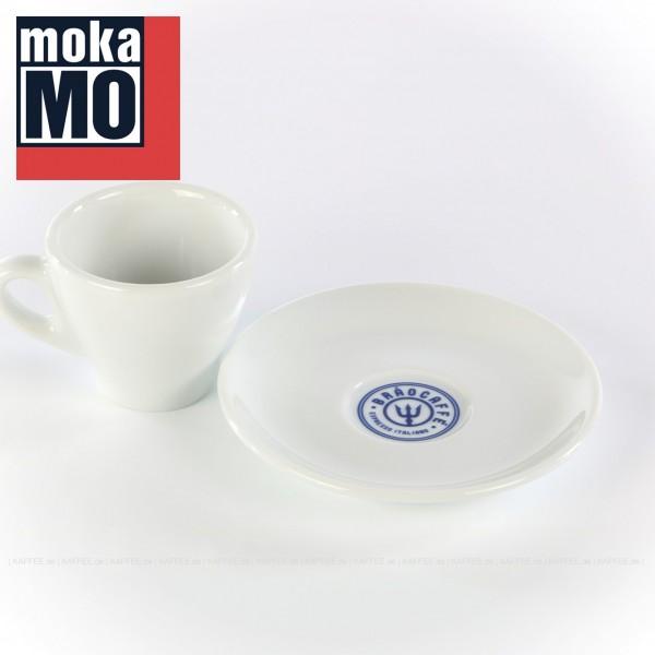 Farbe weiß mit Brao Caffe-Logo auf der Untertasse, 6 Tassen inkl. Untertasse pro VPE, EAN-Code: 0000000001792