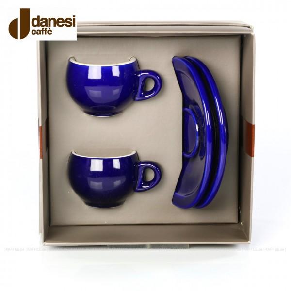 2 farbige (blaue) DANESI Espressotassen mit Untertasse im Geschenkkarton, EAN-Code: 8000135010280