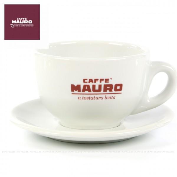 Farbe weiß mit CAFFÈ MAURO-Logo und weißer Untertasse, 6 Tassen pro VPE, EAN-Code: 8002530940308