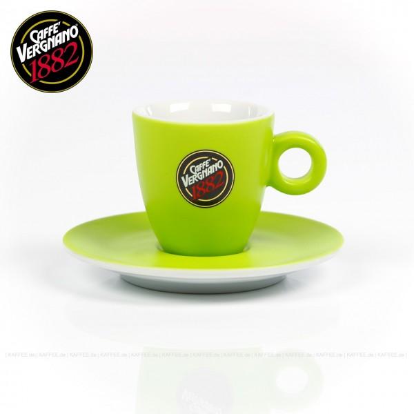 Farbe grün mit Caffè Vergnano-Logo, mit Untertasse, 6 Tassen pro VPE, EAN-Code: 0000000001946