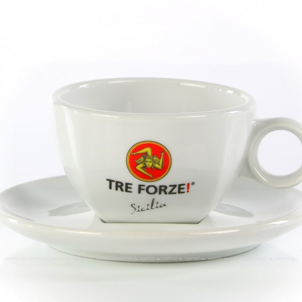 Farbe weiß mit Tre Forze!-Logo und weißer Untertasse, 6 Tassen pro VPE, EAN-Code: 4260011861304
