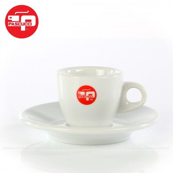 klassische Form, Farbe weiß mit rotem PASCUCCI-Logo, 6 Tassen pro VPE, EAN-Code: 2000000006901