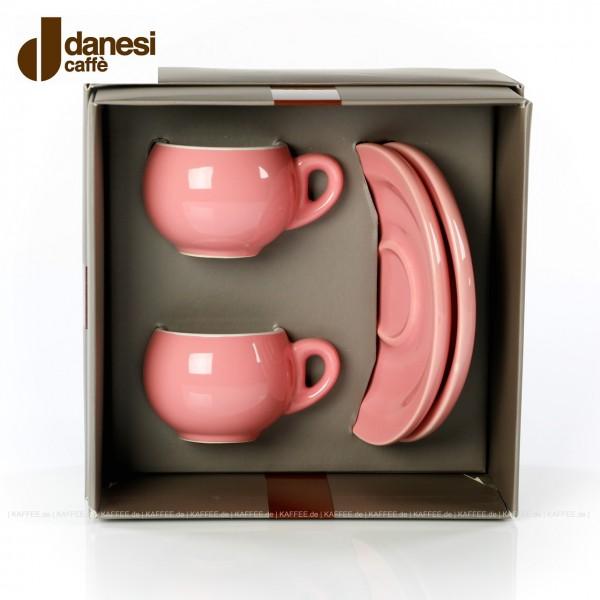 2 farbige (pinke) DANESI Espressotassen mit Untertasse im Geschenkkarton, EAN-Code: 8000135010280