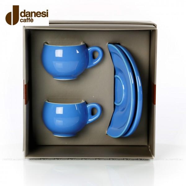 2 farbige (hellblaue) DANESI Espressotassen mit Untertasse im Geschenkkarton, EAN-Code: 8000135010280