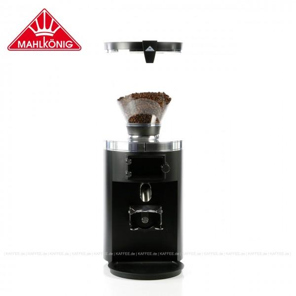 Elektrische Kaffeemühle für Gewerbe,  Farbe RAL9005 Tiefschwarz - matt Feinstruktur mit 80mm Mahlscheiben, 63 cm hoch mit einem Trichterinhalt von ca. 1.800 g. Optimal für den Betrieb in Shops, Röstereien und im Labor geeignet. Artikelcodierung Mahlkön