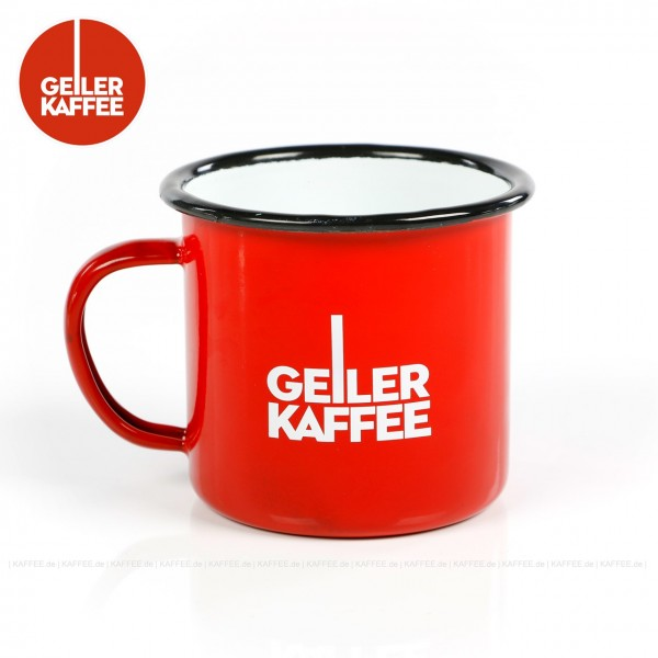 Emaillierter Kaffeebecher aus Blech,  Farbe außen rot mit GEILER KAFFEE-Logo, innen weiß, 1 Becher/Tasse pro VPE, EAN-Code: 4260404690470