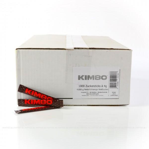 ca. 1.000 Zuckersticks a 4 g weißer Zucker, bedruckt mit KIMBO-Logo, Gesamtinhalt ca. 4,00 kg pro VPE, EAN-Code: 0000000001550