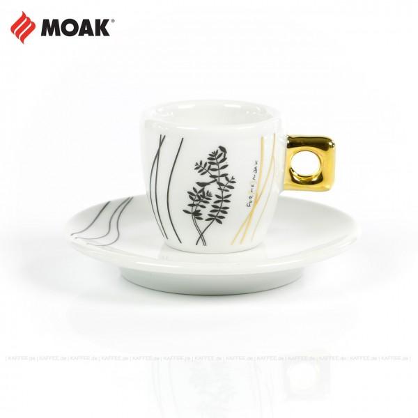 Farbe weiß-gold mit Moak-Logo, 6 Tassen pro VPE, EAN-Code: 8006131000133