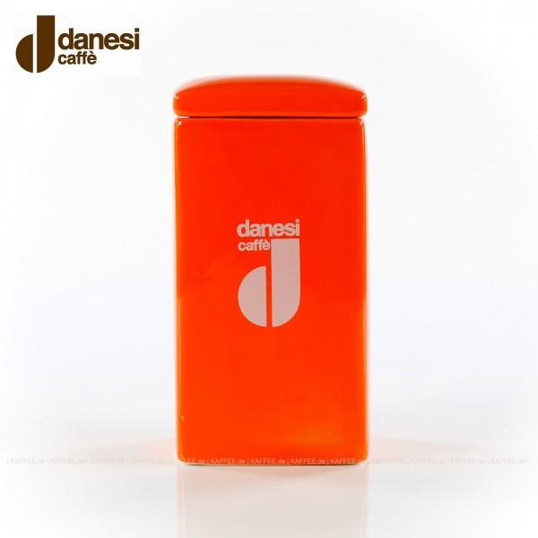 DANESI  Pot, Aufbewahrungsgefäß, farbig (orange) mit DANESI-Logo, zweiteilig - Gefäß mit Deckel, EAN-Code: 8000135818381