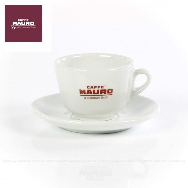 Farbe weiß mit CAFFÈ MAURO-Logo und weißer Untertasse, 6 Tassen pro VPE, EAN-Code: 8002530940223