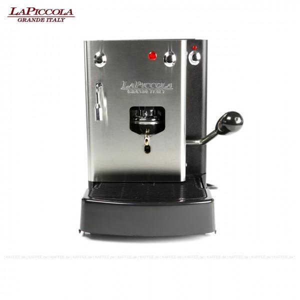 Espressomaschine für ESE-Pads (normal) mit Heißwasserauslass, Edelstahl mit schwarzen Seitenteilen, EAN-Code: 0000000001528