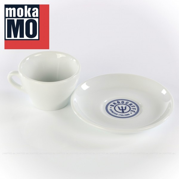 Farbe weiß mit Brao Caffe-Logo auf der Untertasse, 6 Tassen inkl. Untertasse pro VPE, EAN-Code: 0000000001793