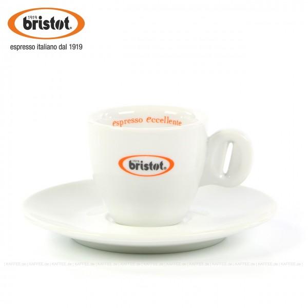 Farbe weiß mit Bristot Logo, Schriftzug innen, 6 Tassen pro VPE, EAN-Code: 0000000001724