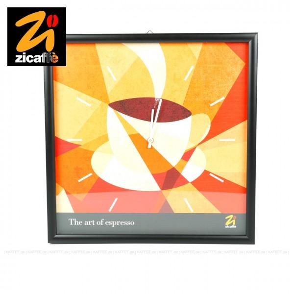 """Eleganten, quadratische (40x40 cm) Wanduhr mit dunklem Holzrahmen, Glasabdeckung und Quartzwerk sowie dem Motiv der Zicaffè Werbekampagne """"BLACK PLEASURE""""., EAN-Code: 0000000001081"""