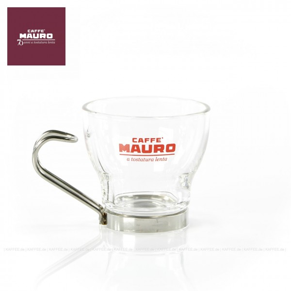 Glas bedruckt mit CAFFÈ MAURO-Logo, 6 Gläser pro VPE, EAN-Code: 8002530941053