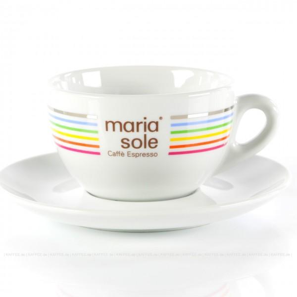 Farbe weiß mit MariaSole- & MilleSoli-Logo inkl. Untertasse, 6 Tassen pro VPE, EAN-Code: 4260011865906
