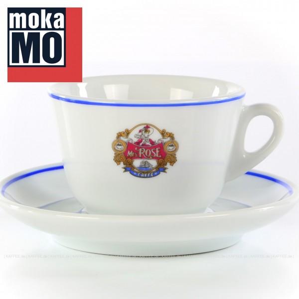 Farbe weiß mit Mrs. Rose-Logo, 6 Tassen inkl. Untertasse pro VPE, EAN-Code: 0000000001804