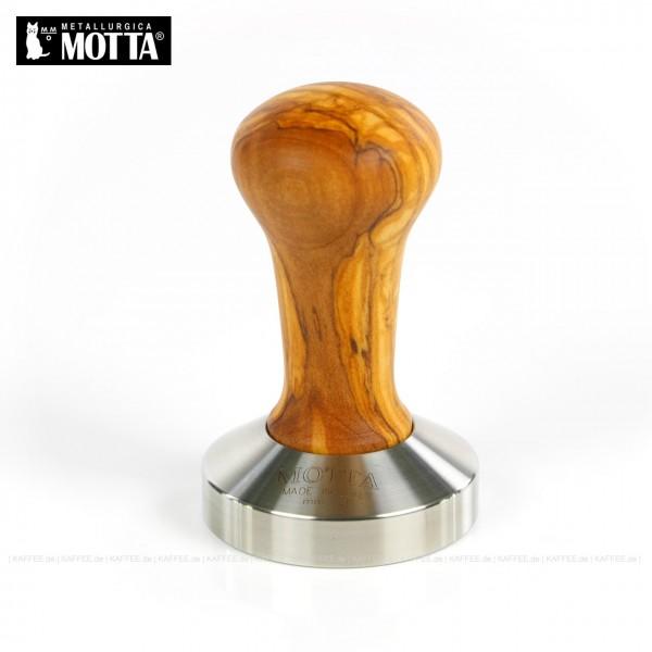 Tamper aus Edelstahl/Olivenholz, Durchmesser 58 mm, Tamperunterseite flach, Griff austauschbar, Gesamtinhalt 1 Stück pro VPE, EAN-Code: 8007986032003