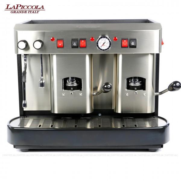 Espressomaschine für ESE-Pads (normal) mit zwei Brühgruppen (7g/7g), manuelle Dosierung, Edelstahl mit schwarzen Seitenteilen, Milchaufschäumer und Wassertank Diese Maschine ist in weiteren Ausführungen erhältlich: zum Beispiel mit anderen Brühgruppen
