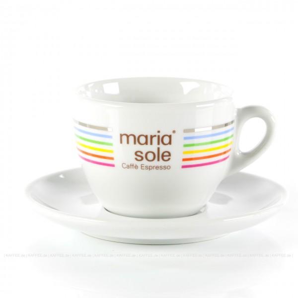 Farbe weiß mit MariaSole- & MilleSoli-Logo inkl. Untertasse, 6 Tassen pro VPE, EAN-Code: 4260011865807