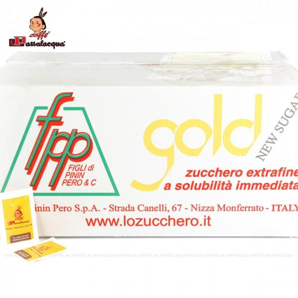 Zuckerpäckchen bedruckt mit PASSALACQUA-Logo, weißer Zucker, Gesamtinhalt 2.000 Päckchen pro VPE, EAN-Code: 0000000001838